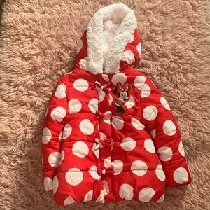 Disney Minnie Mouse Puffer Jacket Size 2/3